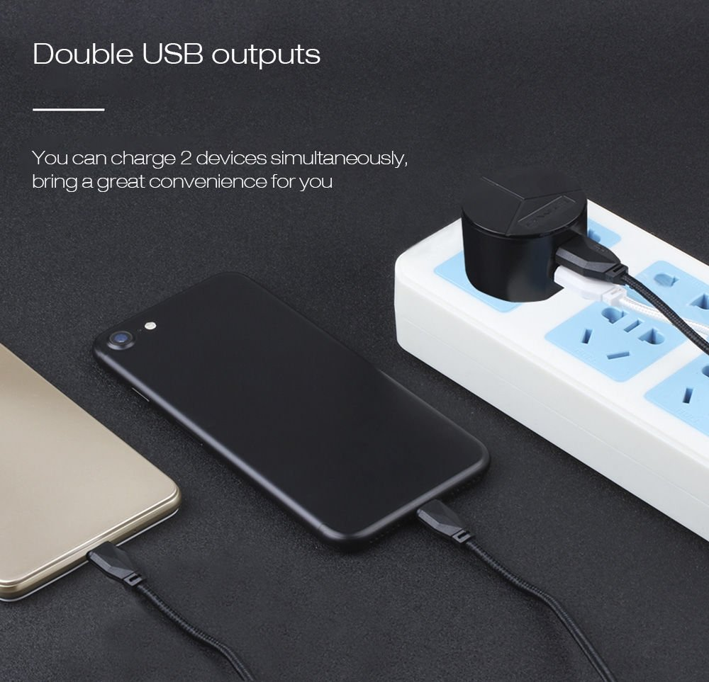 Awei C 940 Power Charger Fast Charger Kit 2 USB Port with iPhone Cable 2