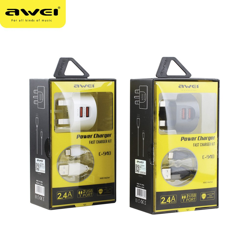 Awei C 940 Power Charger Fast Charger Kit 2 USB Port with iPhone Cable 3