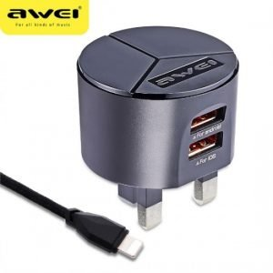 Awei C 940 Power Charger Fast Charger Kit 2 USB Port with iPhone Cable