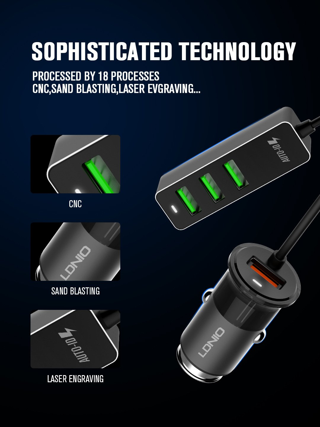 LDNIO C61 QC3.0 AUTO ID 35W 4USB COMBO SMART FAST CAR CHARGER with 120CM CABLE 1