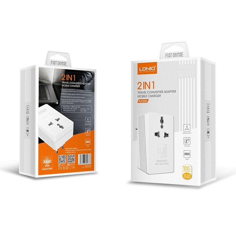 Ldnio A3306 2 IN 1 Travel Converter Adapter Turbo Mobile Charger 3