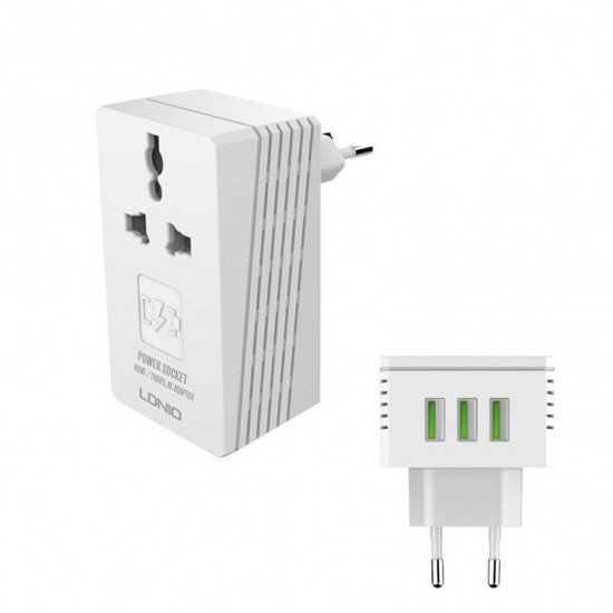 Ldnio A3306 2 IN 1 Travel Converter Adapter Turbo Mobile Charger