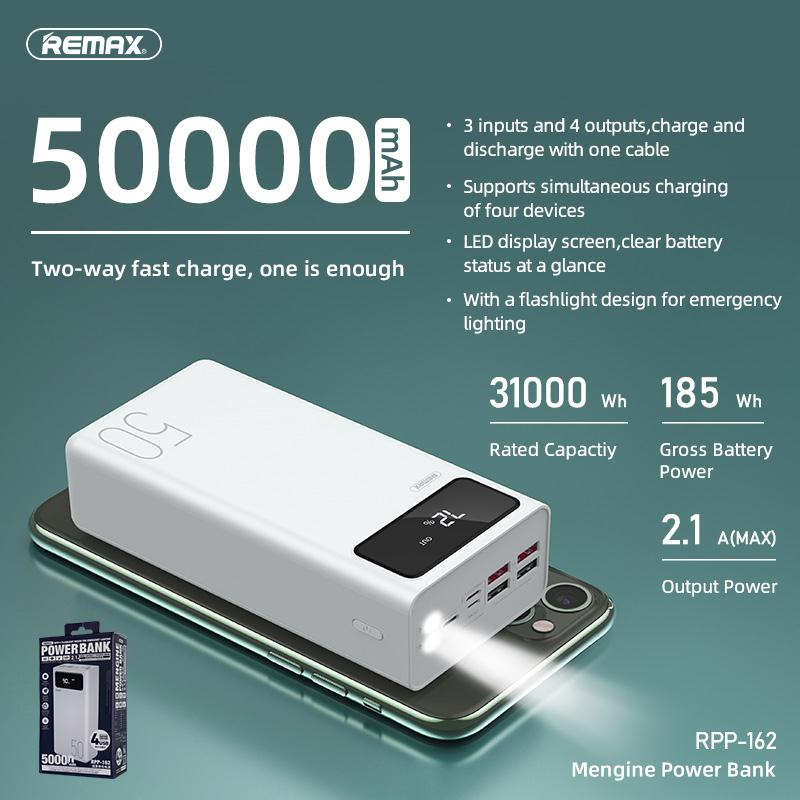 REMAX RPP 162 50000mAh Power Bank with 4USB Outputs 3USB Inputs 1