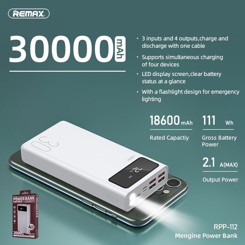 Remax RPP 112 High Capacity Power Bank 4USB Outputs 3USB Inputs 30000mAh 1