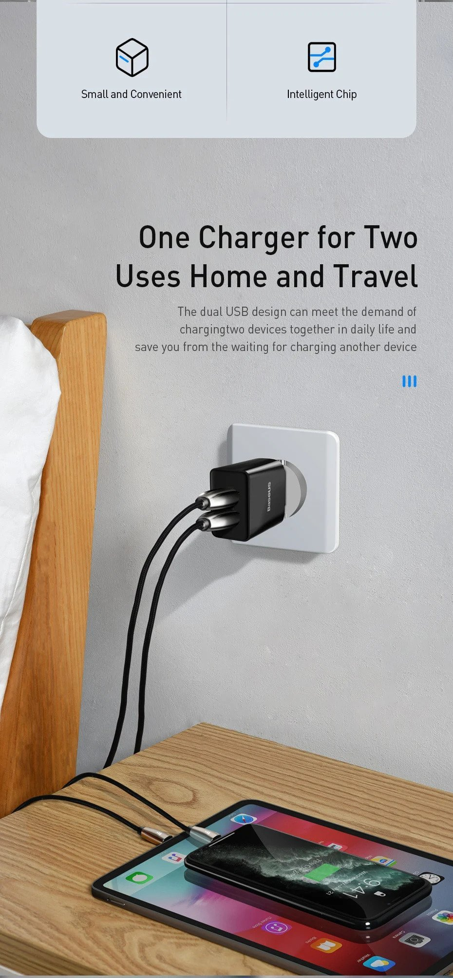 BASEUS 10.5W Speed Mini Dual USB Charger 6