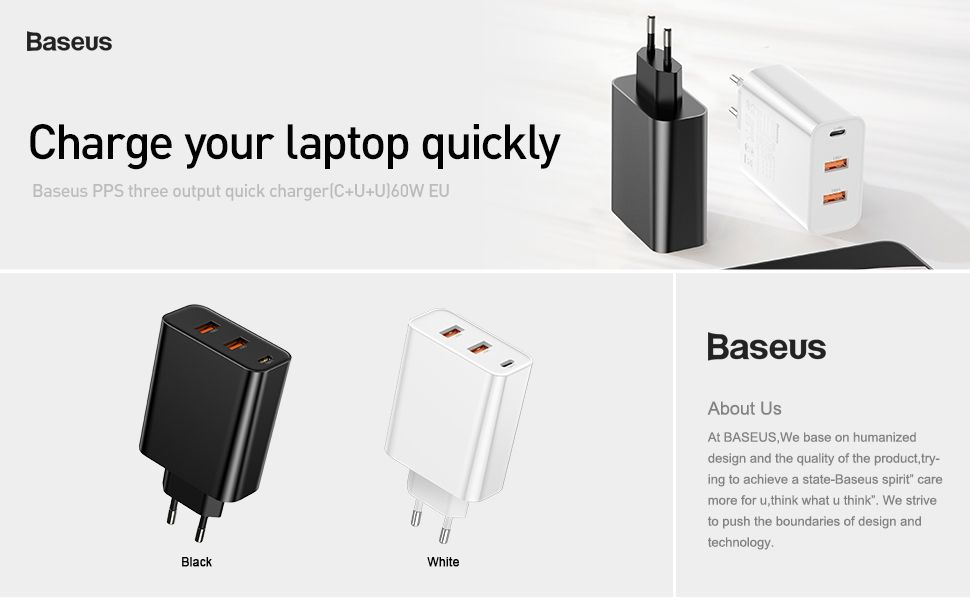 BASEUS 60W PPS Three port Quick Charge 4.0 3.0 PD 3.0 Fast Charger 3
