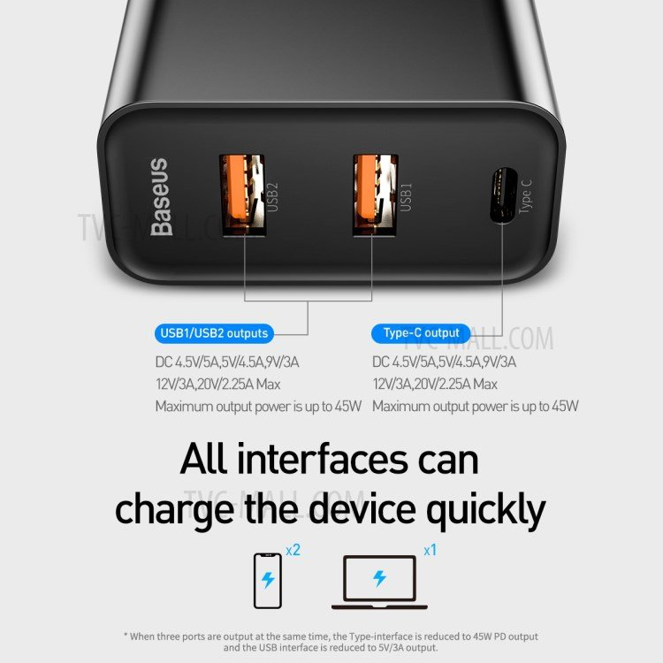 BASEUS 60W PPS Three port Quick Charge 4.0 3.0 PD 3.0 Fast Charger 5