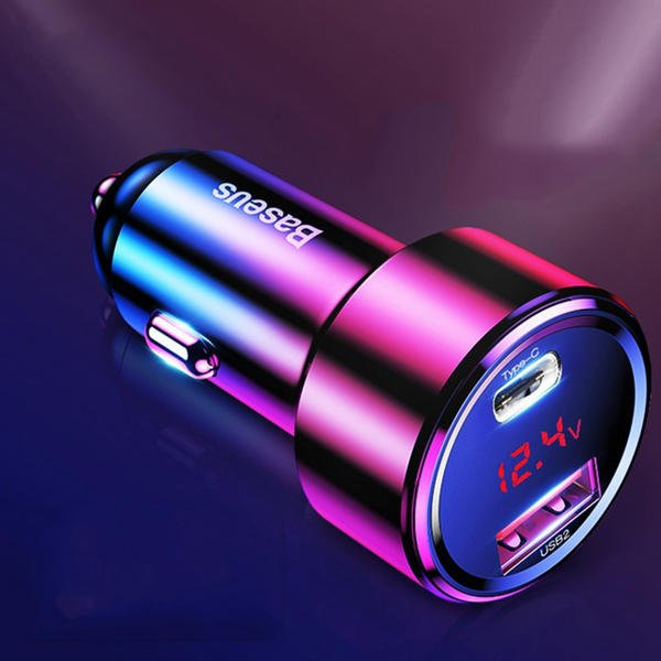 Baseus Car Charger 45W with Digital Display PPS Dual Quick Charging 3