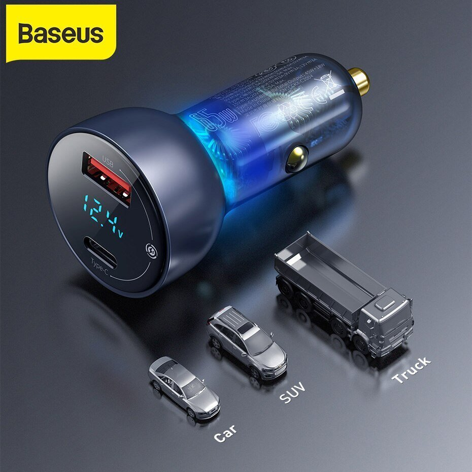 Baseus Car Charger 65W Particular Digital Display QCPPS Dual Quick Charger 4