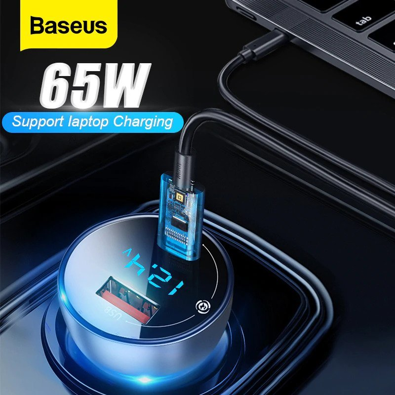 Baseus Car Charger 65W Particular Digital Display QCPPS Dual Quick Charger 5