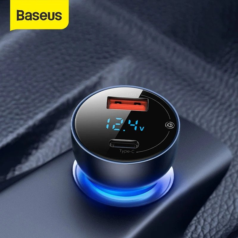 Baseus Car Charger 65W Particular Digital Display QCPPS Dual Quick Charger 6