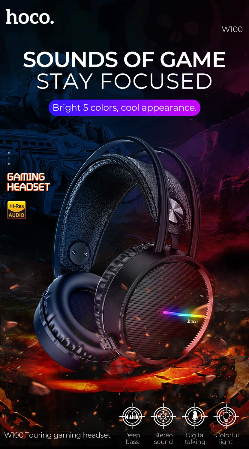 HOCO W100 Portable Wired Gaming Headphone Over ear Headset with Mic 3