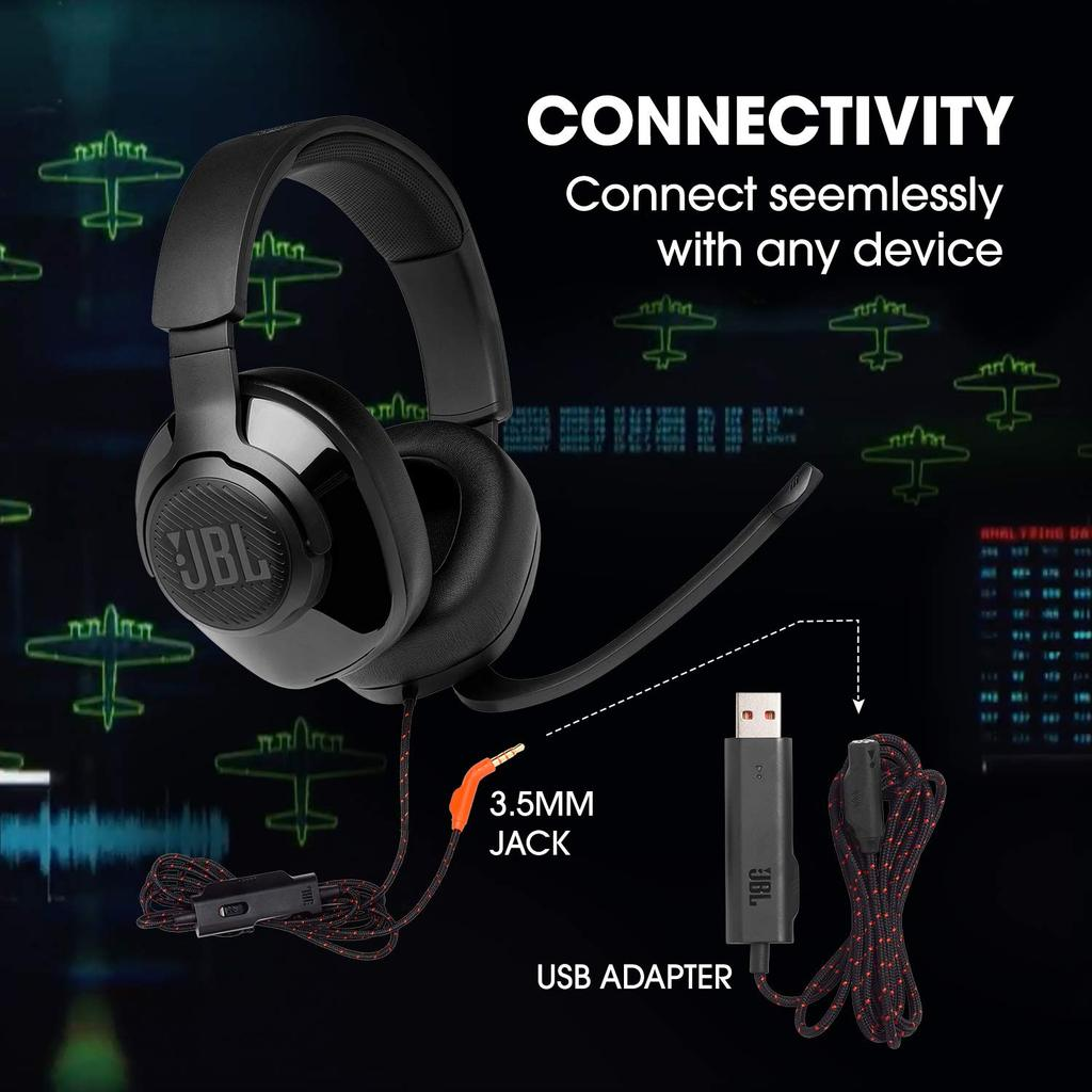 JBL Quantum 300 Hybrid Wired Over Ear Gaming Headset with Flip Up Mic 2