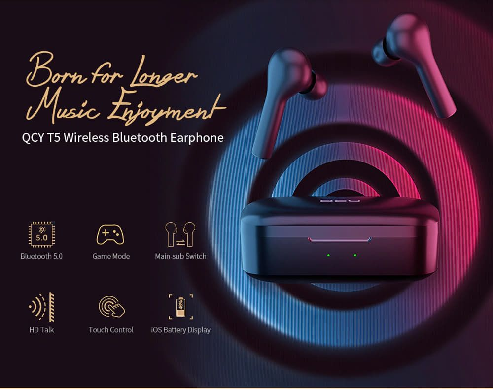 QCY T5 Wireless Bluetooth Earbuds 1
